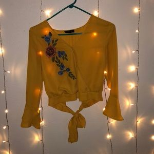 BEAUTIFUL yellow crop top with embroidery